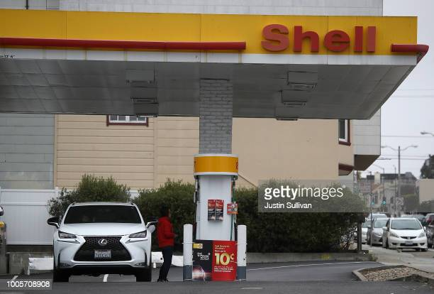 The Shell logo is displayed at a Shell gas station on July 26, 2018 in San Francisco, California. Shell Oil reported a 30 percent surge in second...