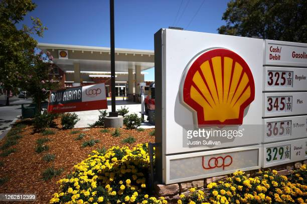 The Shell logo is displayed in front of a Shell gas station on July 30, 2020 in San Rafael, California. Royal Dutch Shell reported second quarter...