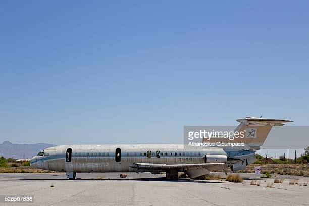 The shell of the airplane at the abandoned Nicosia International Airport on April 28, 2016 in Nicosia, Cyprus . All that is left is the shell of the...