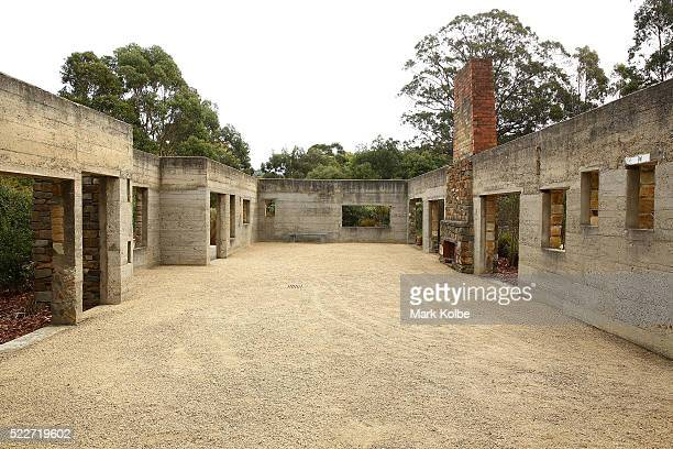 The shell of the Broad Arrow Cafe is seen at the Memorial Garden of the Port Arthur Historical Site on April 18 2016 in Port Arthur Australia The...