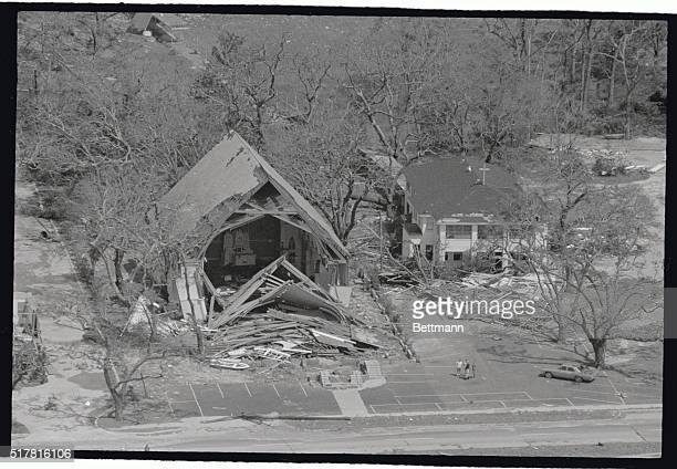 The shell of what was once a church stands broken August 18 after being split in two by the scythe like winds of hurricane Cammille The storm the...