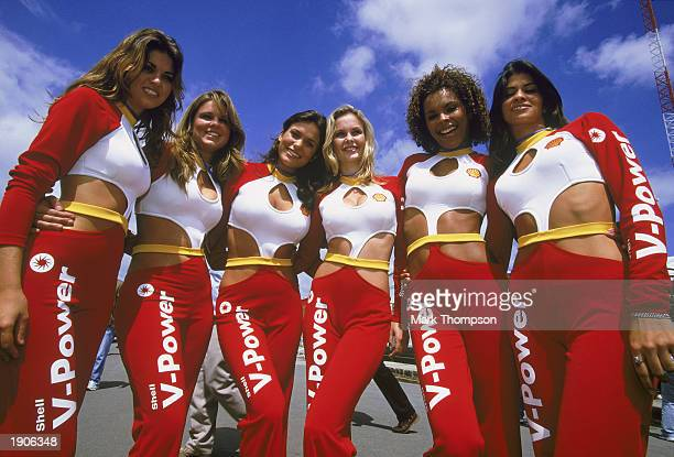 The Shell V-Power Glamour Girls during the Formula One Brazilian Grand Prix held on April 6, 2003 at Interlagos, Sao Paulo, Brazil.