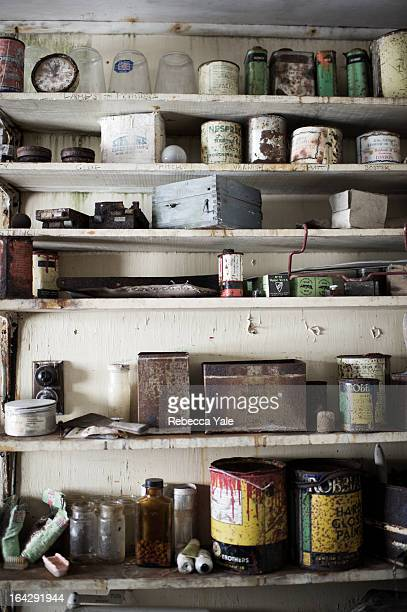 The shelves of an abandoned station in Antarctica serve as a time capsule untouched since the station decommissioned in the 1950's.