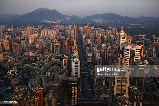 The Shenzhen skyline is pictured from the 69th floor of the Shun Hing Square building on November 28 2010 in Shenzhen China According to the US...