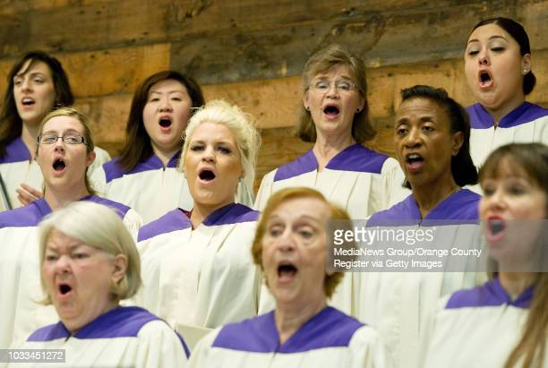 The Shepherd's Grove choir performs during Bobby Schuller's early morning service which features a traditional set-up while the second service...