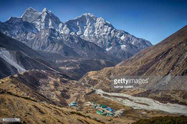 The Sherpa village with Everest mountain in the background
