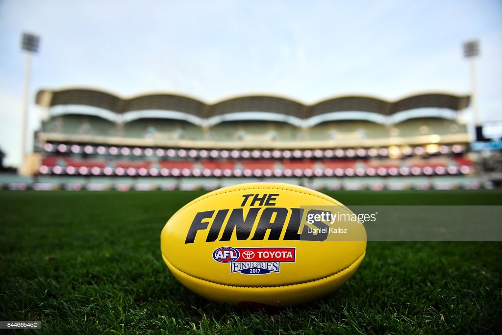 The Sherrin finals game ball is pictured on Adelaide Oval prior to the AFL First Elimination Final match between Port Adelaide Power and West Coast Eagles at Adelaide Oval on September 9, 2017 in Adelaide, Australia.