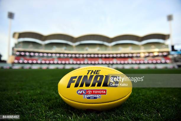 The Sherrin finals game ball is pictured on Adelaide Oval prior to the AFL First Elimination Final match between Port Adelaide Power and West Coast...