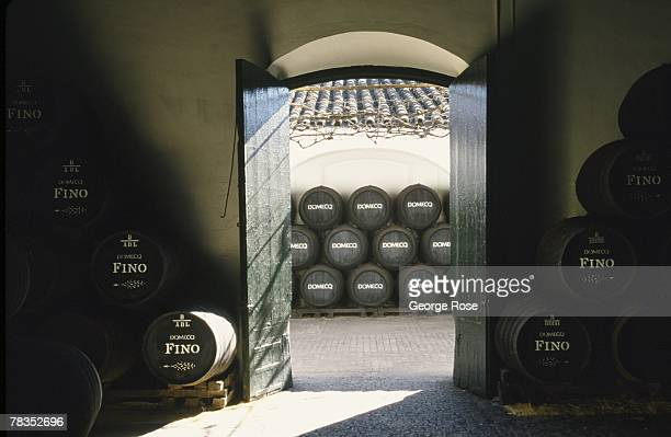 The sherry producing Macharnudo wine district of Southern Spain is viewed in this 2003 Jerez Spain barrel room photo