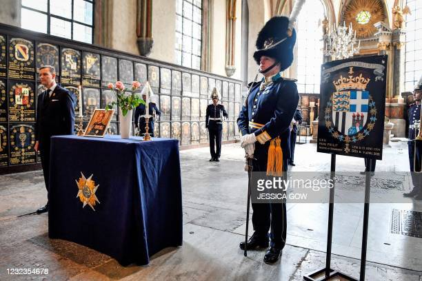 The shield of Britain's late Prince Philip, Duke of Edinburgh, of the Royal Order of the Seraphim is displayed during a ceremony in his honour and a...