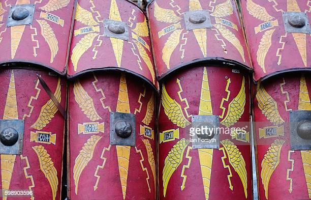 The shields of Roman soldiers can be seen as they practice battle drills during the Hadrian's Wall Live event at Housesteads Roman fort on September...