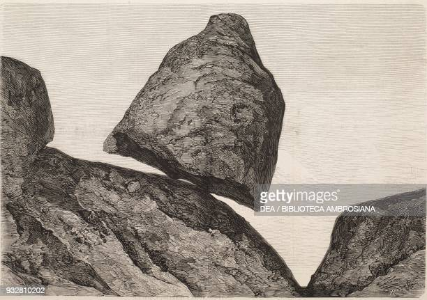The Shifting Stone near Tandil Buenos Aires Argentina illustration from La Ilustracion Espanola y Americana magazine Year 19 Number 31 August 23 1875
