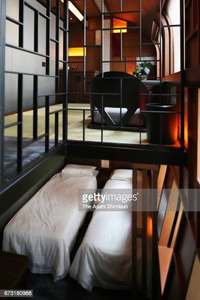 The 'ShikiShima' Suite room of the JR East's 'Train Suite ShikiShima' is seen during the press preview on April 26 2017 in Tokyo Japan The luxury...
