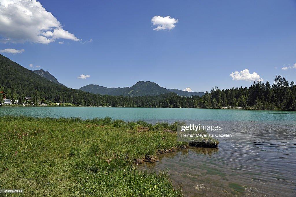 The shimmering green Lake Hintersee, Ramsau bei Berchtesgaden, Berchtesgadener Land District, Upper Bavaria, Bavaria, Germany : Stock Photo
