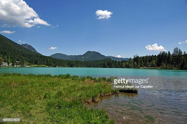 The shimmering green Lake Hintersee, Ramsau bei Berchtesgaden, Berchtesgadener Land District, Upper Bavaria, Bavaria, Germany
