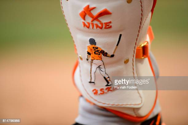 The shin guard for Hyun Soo Kim of the Baltimore Orioles is seen during the game against the Minnesota Twins on July 7 2017 at Target Field in...