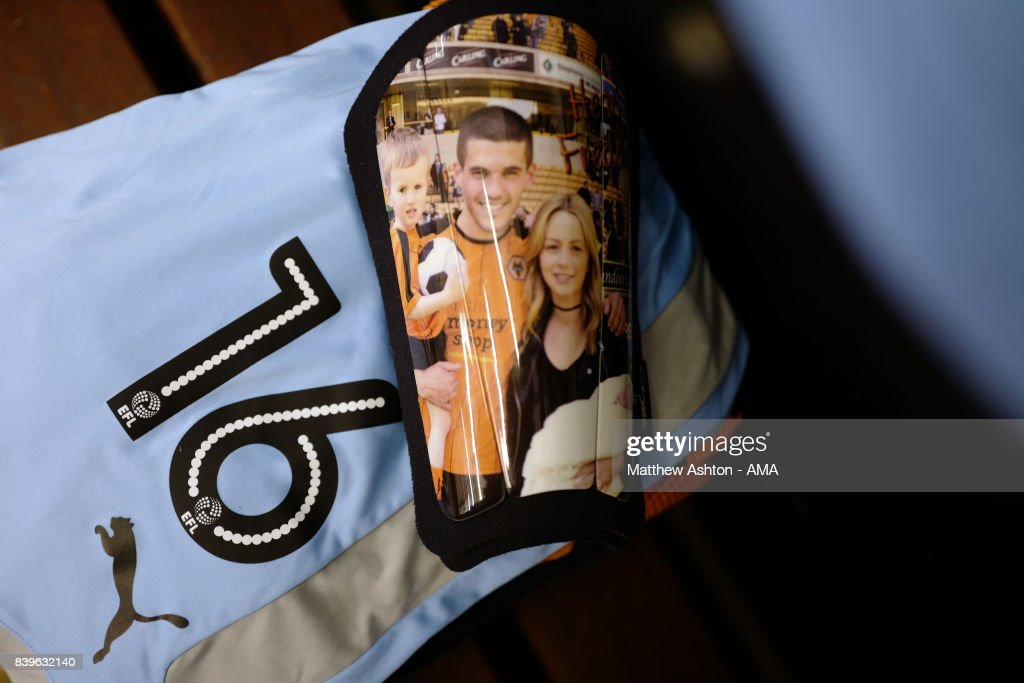 The shin pads of Conor Coady of Wolverhampton Wanderers prior to the Sky Bet Championship match between Brentford and Wolverhampton Wanderers at Griffin Park on August 26, 2017 in Brentford, England.