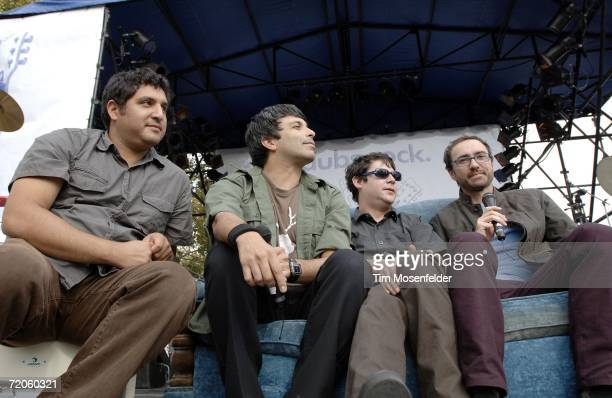 The Shins Jesse Sandoval Dave Hernandez Martin Crandall and James Russell Mercer of The Shins give a radio interview at Download 2006 festival at...