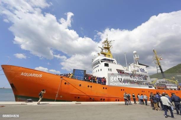 The Ship Acquarius of ItalianFrancoGerman humanitarian organization «Sos Mediterranee» in partnership with «Medici senza frontiere» in the port of...
