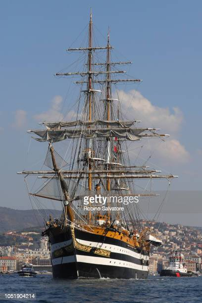The ship Amerigo Vespucci is seen ahead of the 50th Barcolana regatta on October 14 2018 in Trieste Italy The Barcolana historic regatta is held...