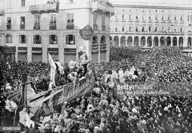 The Ship by Gabriele D'Annunzio allegorical float at the carnival in Milan Italy photograph by Luca Comerio from L'Illustrazione Italiana Year XXXV...