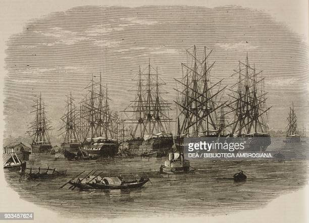 The ship Daphne with Lord Mayo's remains on board shipping on Hooghly River India illustration from the magazine The Illustrated London News volume...