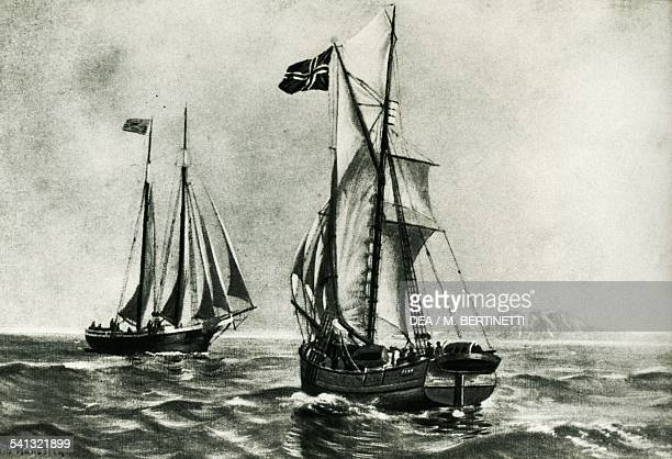 The ship Gjoa of Roald Amundsen used to sail through the Northwest Passage encountering the whaler Charles Hanson which had travelled the route in...