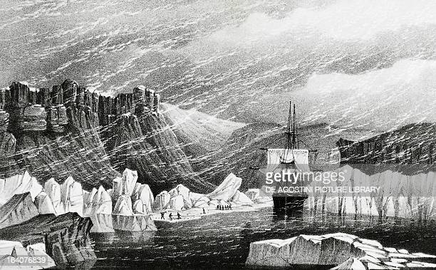 The ship Investigator September 20 engraving from the account of the expedition led by Robert McClure to discover the Northwest Passage Arctic 19th...