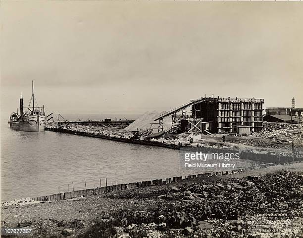 The ship LL Barth unloading supplies for Field Museum construction site Chicago Illinois July 21 1916