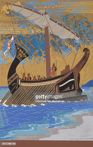 The Ship of Odysseus with Oars and a Furled Sail by FrancoisLouis Schmied