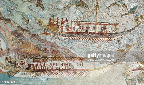 The Ship procession or Flotilla frieze 1650 BC fresco from Thera Cyclades Greece Detail Minoan civilisation 2nd millennium BC