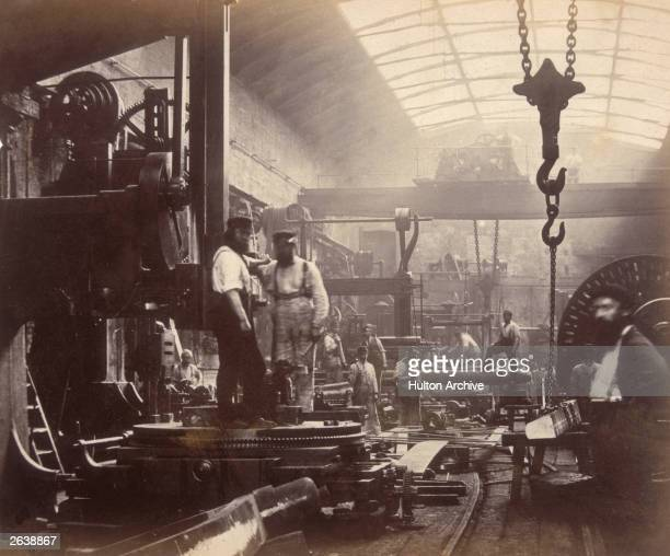The shipbuilding and engineering workshop and dry dock of the Thames Iron Works, London.