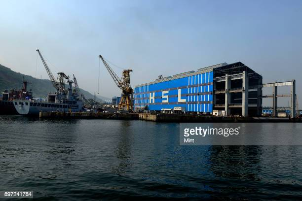The shipbuilding yard of Hindustan Shipyard Limited at Visakhapatnam Seaport on February 2 2016 in Visakhapatnam India It is India's second largest...