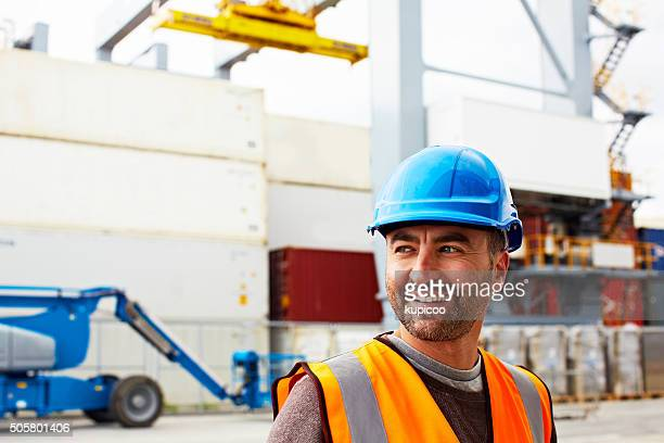 the shipment is on its way! - dock worker stock photos and pictures