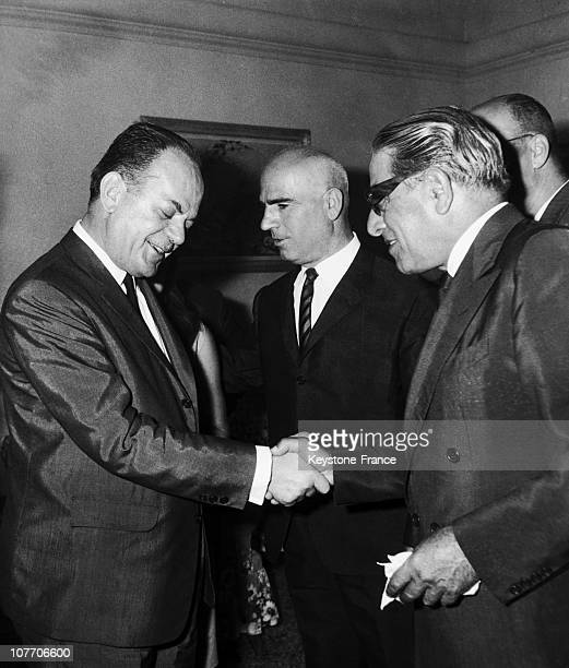 The Shipowner Shaking Hands With The Head Of Colonels' Dictature Athens Greece On August 20Th 1967