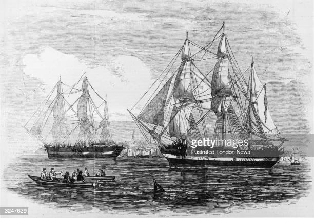 The ships HMS Erebus and HMS Terror used in Sir John Franklin's illfated attempt to discover the Northwest passage Original Publication Illustrated...