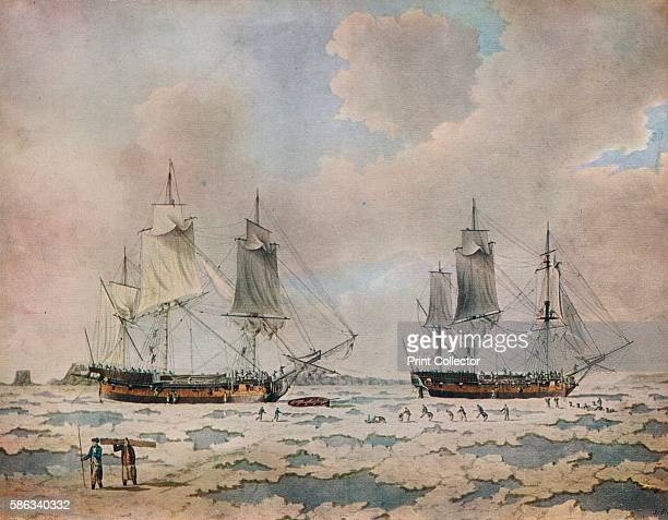 'The ships of Lord Mulgrave's expedition of discovery embedded in ice in the Polar Regions' 1774 HMS 'Racehorse' and 'Carcass' sailed from the Nore...