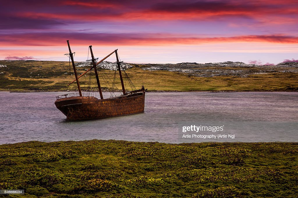 The Shipwreck of Lady Elizabeth in Whale Bone Cove in Port Stanley Harbour, Falkland Islands, British Overseas Territory : Stock Photo