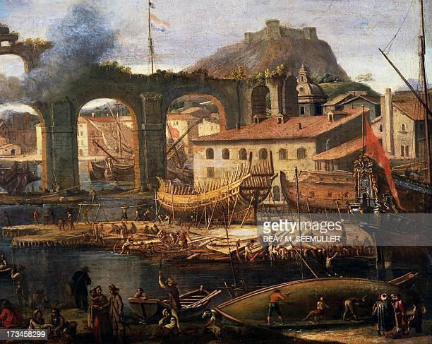 The shipyards of La Ciotat by Jean-Baptiste de La Rose , oil on canvas, France, 17th century. Paris, Musée De La Marine