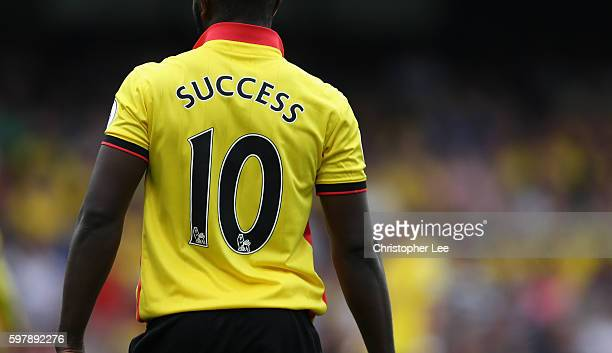 The Shirt back of Isaac Success of Watford during the Premier League match between Watford and Arsenal at Vicarage Road on August 27 2016 in Watford...