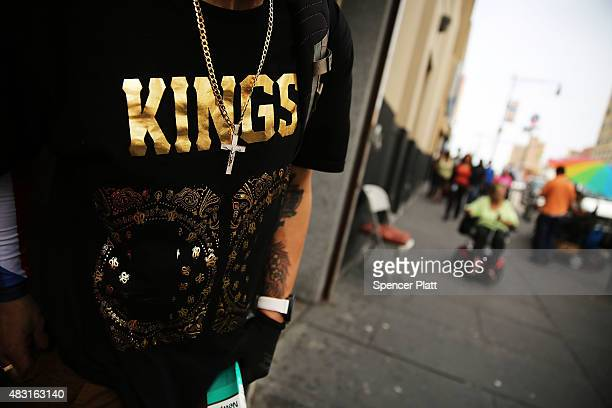 The shirt of a man is viewed in an area of the Bronx which is the center of the outbreak Legionnaires disease on August 6 2015 in New York City It is...
