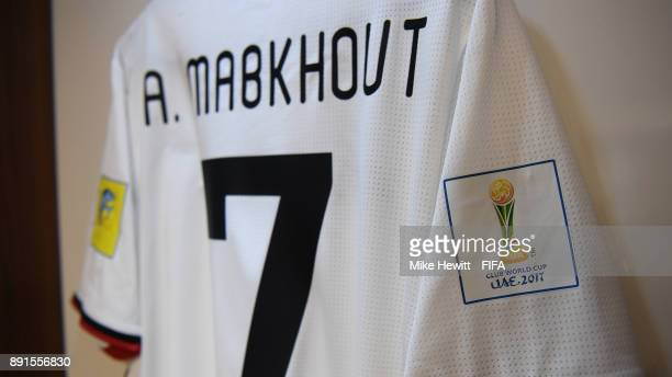 The shirt of Ali Mabkhout of Al Jazira hangs in the changing room during the FIFA Club World Cup UAE 2017 Semi Final between Al Jazira and Real...