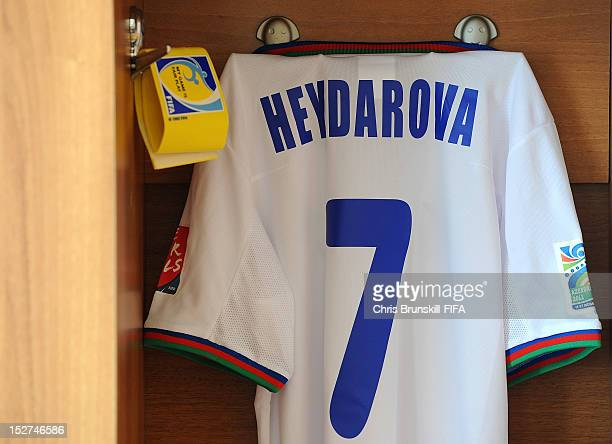 The shirt of Amina Heydarova of Azerbaijan hangs in the dressing room ahead of the FIFA U17 Women's World Cup Group A match between Azerbaijan and...