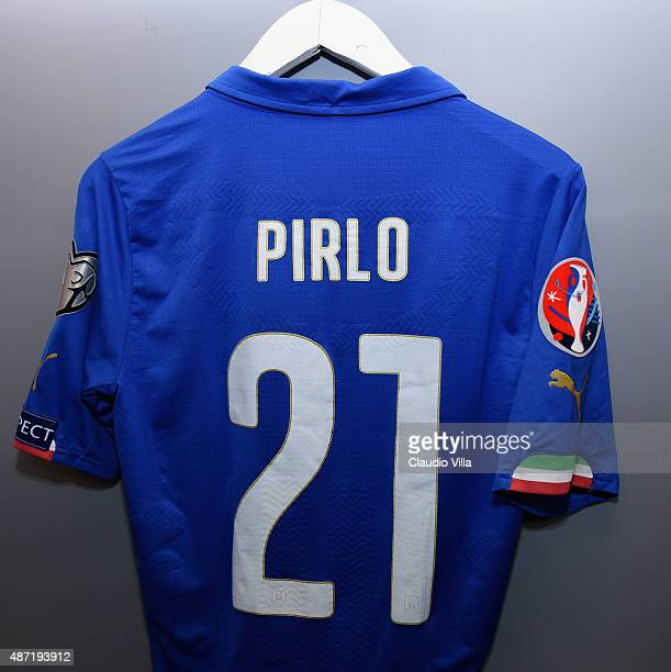 The shirt of Andrea Pirlo of Italy hangs in the home dressing room before the UEFA EURO 2016 Qualifier match between Italy and Bulgaria on September...