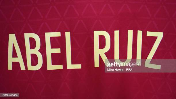 The shirt of captain Abel Ruiz of Spain hangs in the changing room ahead of the FIFA U17 World Cup India 2017 group D match between Spain and Niger...