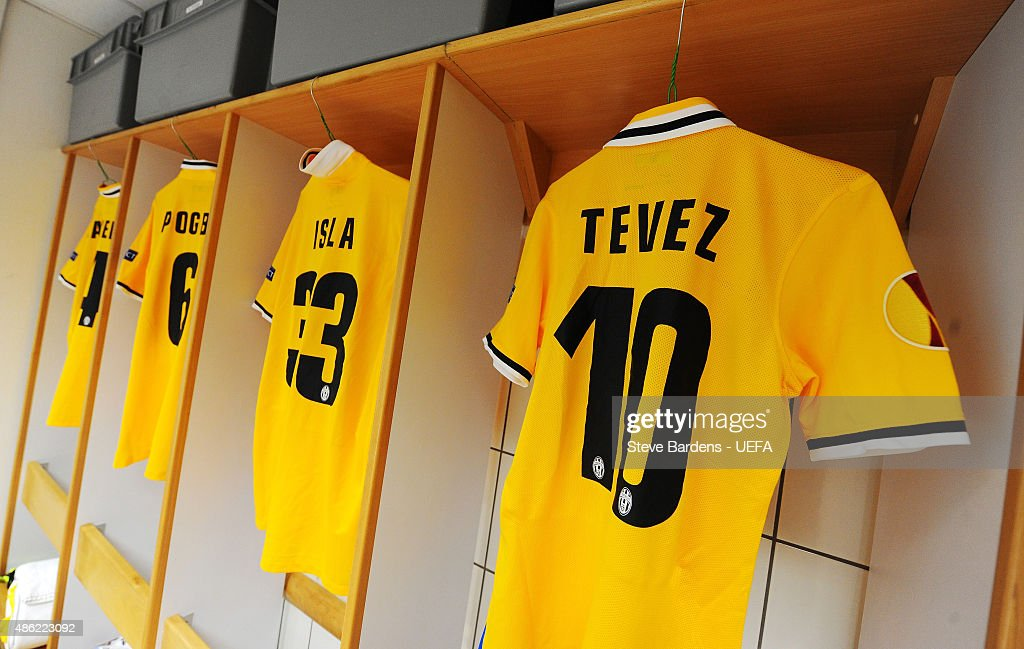 The shirt of Carlos Tevez of Juventus is dsiplayed in the team changing room prior to the UEFA Europa League Quarter Final 1st leg match between Olympique Lyonnais and Juventus at Stade de Gerland on April 3, 2014 in Lyon, France.
