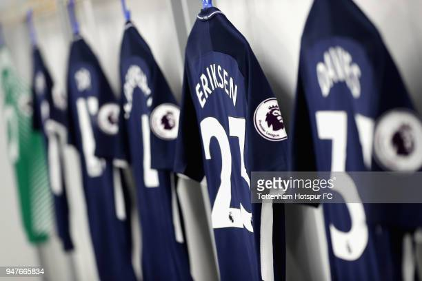 The shirt of Christian Eriksen of Tottenham Hotspur is seen in the dressing room prior to the Premier League match between Brighton and Hove Albion...