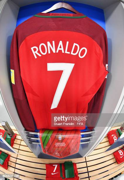 The shirt of Cristiano Ronaldo of Portugal hangs in changing room prior to the FIFA Confederations Cup Russia 2017 Group A match between New Zealand...