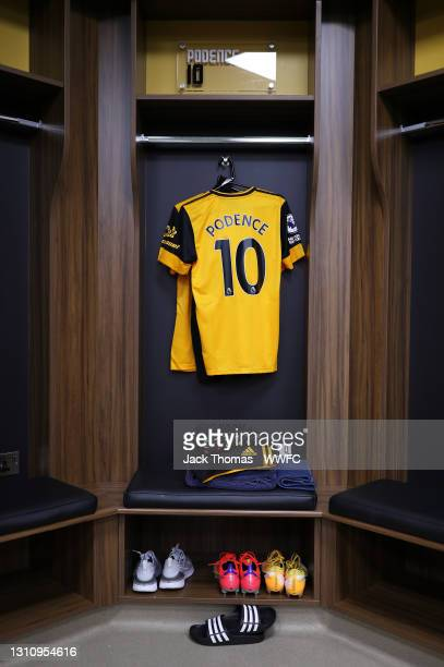 The shirt of Daniel Podence of Wolverhampton Wanderers is displayed inside the Wolverhampton Wanderers dressing room ahead of the Premier League...