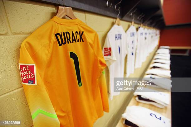 The shirt of Elizabeth Durack of England hangs in the dressing room prior to the FIFA U20 Women's World Cup Canada 2014 group C match between England...